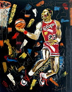 Michael Jordan Prints - Midnight Slam Print by Wayne LE ONE
