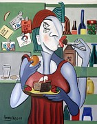 Woman Mixed Media Framed Prints - Midnight Snack Framed Print by Anthony Falbo
