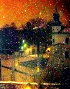 Kazimierz Art - Midnight Snow In Kazimierz by Ted Hebbler