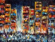 Rainy Street Painting Originals - Midnight Strangers by Debra Hurd