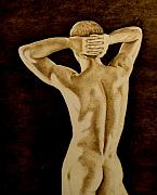 Naked Pyrography Prints - Midnight Stretch Print by Jo Schwartz