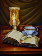 The Good Book Framed Prints - Midnight Tea Framed Print by Gilee Barton