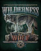 North American Wildlife Painting Posters - Midnight Wolf Sign Poster by JQ Licensing