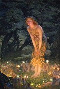 Night Lamp Painting Posters - Midsummer Eve Poster by Edward Robert Hughes