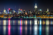 Midtown Posters - Midtown Manhattan from Jersey City at Night Poster by Val Black Russian Tourchin