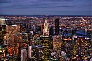 Midtown Skyline At Dusk Print by Randy Aveille