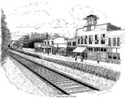 Railroad Drawings - Midway Kentucky by Laura Brightwood