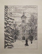 Hall Mixed Media Prints - Midwest Winter Print by Thomas  Ferguson