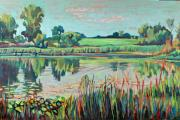 Lilly Pond Paintings - Midwestern Reflections II by Nina Weiss