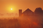 Rural Indiana Prints - Midwestern Rural Sunrise - FS000405 Print by Daniel Dempster