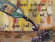 Wine Grapes Glass Art Posters - Mighty Fine Poster by Cathy Weaver