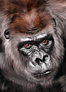 Gorilla Digital Art Framed Prints - Mighty Joe Framed Print by Julie L Hoddinott