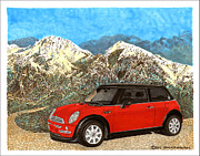 Vintage Hood Ornament Painting Prints - Mighty Mini Cooper S Print by Jack Pumphrey