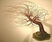 Trees Sculpture Originals - Mighty Wind Swept  - Wire Tree Sculpture    by Sal Villano