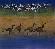 Lake  Tapestries - Textiles Metal Prints - Migration series geese 2 Metal Print by Carolyn Doe