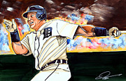 Mlb Drawings Prints - Miguel Cabrera  Print by Dave Olsen