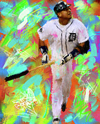 Baseball Originals - Miguel Cabrera Long Gone by Donald Pavlica