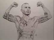 Fists Drawings - Miguel Cotto by Angelee Borrero