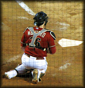 Baseball Game Framed Prints - Miguel Montero Framed Print by Diane Wood