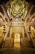 Travel Sightseeing Prints - Mihrab and Ceiling of Mezquita in Cordoba Print by Artur Bogacki