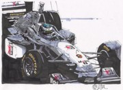 Mercedes Automobile Drawings - Mika Hakkenin McLaren Mercedes British Grand Prix by Paul Guyer