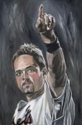Mike Piazza New York Mets David Courson Sports Art Oil  Baseball Paintings - Mike Piazza by David Courson