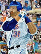 Major League Mixed Media Prints - Mike Piazza Print by Michael Lee