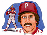 Baseball. Philadelphia Phillies Drawings - Mike Schmidt-color by Chris  DelVecchio