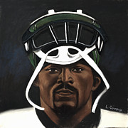 Black Pastels Framed Prints - Mike Vick Framed Print by L Cooper