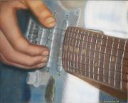 Hands Pastels Metal Prints - Mikes Guitar Metal Print by Laura Leigh McCall