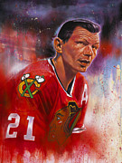 Hockey Paintings - Mikita by Gary McLaughlin