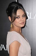 Gold Earrings Framed Prints - Mila Kunis At Arrivals For Black Swan Framed Print by Everett