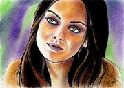 Show Pastels Framed Prints - Mila Kunis Framed Print by Joane Severin