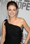 Diamond Earrings Framed Prints - Mila Kunis Wearing Neil Lane Earrings Framed Print by Everett