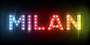 Name Prints - Milan in Lights Print by Michael Tompsett