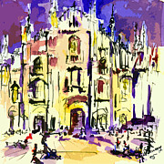 Impressionist Mixed Media Acrylic Prints - Milan Italy Cathedral Abstract Art by Ginette Acrylic Print by Ginette Callaway