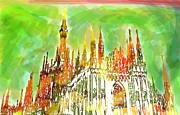 Duomo Cathedral Digital Art Prints - Milan Print by Maurizio Siani
