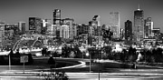 Black-and-white Framed Prints - Mile High Skyline Framed Print by Kevin Munro