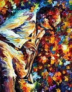 Trumpet Paintings - Miles Davis - Gold Trumpet by Leonid Afremov