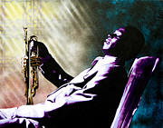 Spray Paint Art Paintings - Miles Davis by Bobby Zeik