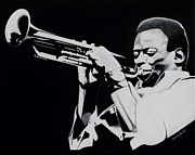 White Shirt Paintings - Miles Davis by Dan Lockaby