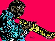 Blackart Posters - Miles Davis full color Poster by Kamoni Khem