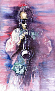Watercolor Framed Prints - Miles Davis Meditation 2 Framed Print by Yuriy  Shevchuk