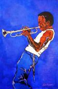 Music Themed Art Paintings - Miles Davis-Miles and Miles Away by Bill Manson