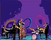 Male Portraits Digital Art Prints - Miles Davis Quintet Print by Walter Neal