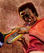 African American Art Drawings Posters - Miles in Color 3 Poster by Dallas Roquemore