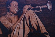 On Wood Pyrography Pyrography - Miles the man by Marlon Ivory