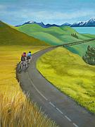 Tour De France Paintings - Miles To Go by Kris Crollard