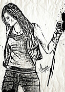 Night Lamp Drawings - Miley Cyrus says Let the Music Begin by Sanjay Avasarala