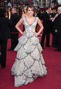 Tiered Dress Posters - Miley Cyrus Wearing A Zuhair Murad Gown Poster by Everett